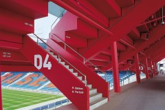 Stadion St. Jakob-Park - StoCryl V 100 QS, StoLook Metallic, StoColor In, StoColor Maxicryl, StoPox WL 100/200, StoColor Latex 5000, Sto-PremiumColorlac Satin AF, Sto-PremiumColorlac Gloss AF